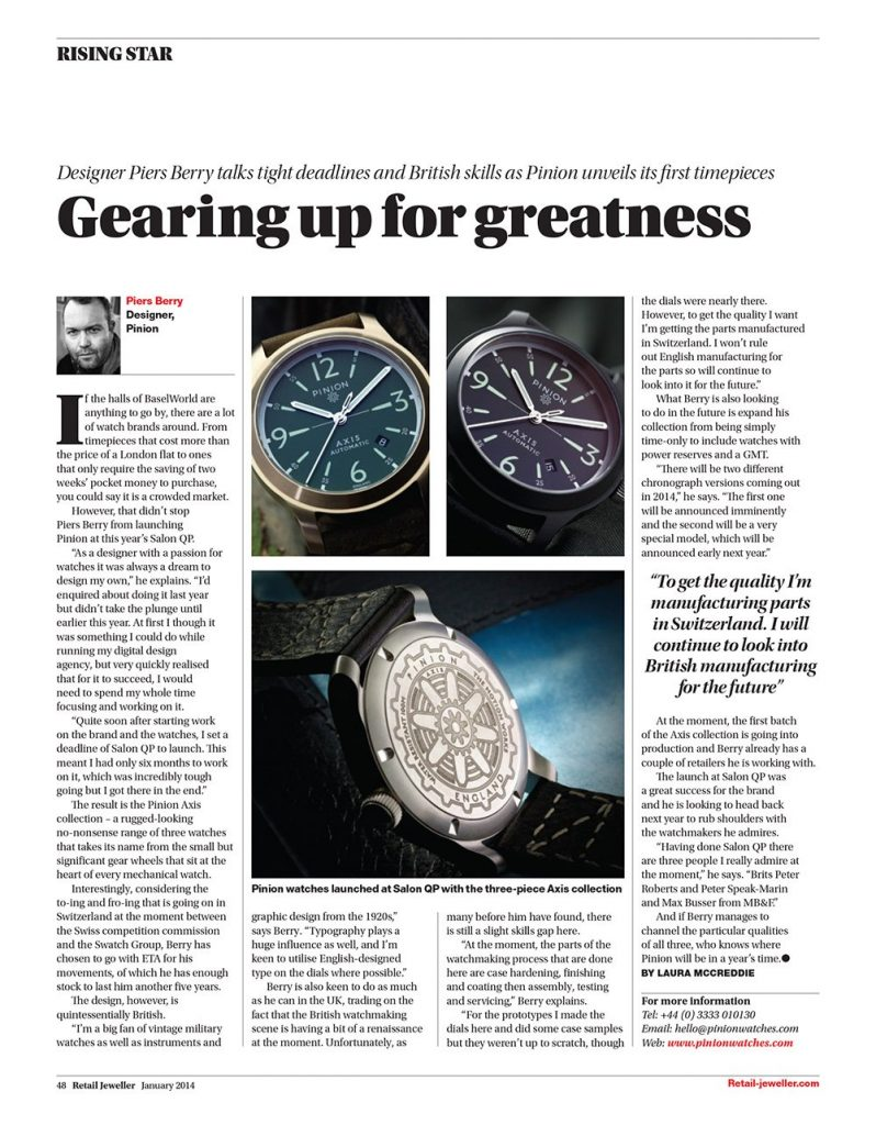 Pinion Retail Jeweller interview