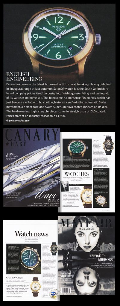 Pinion Watch Company in the Press