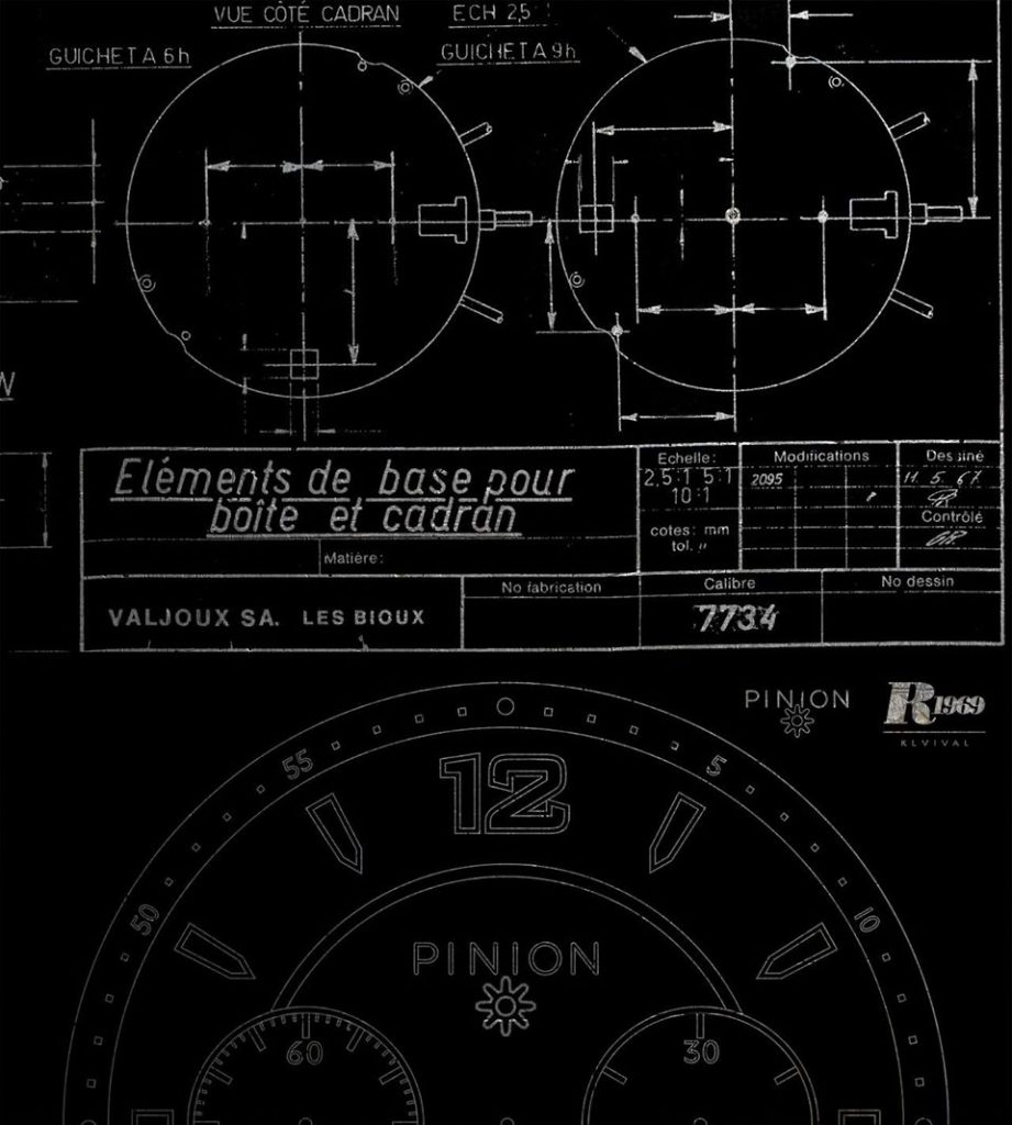 Valjoux 7734 dial technical drawings