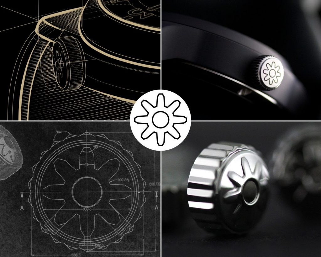 Pinion watch crown design