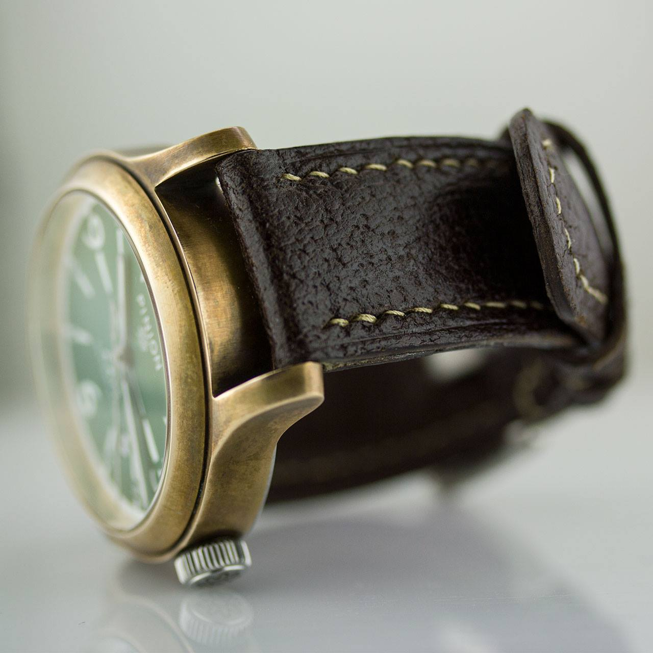 Pinion handmade leather watch strap