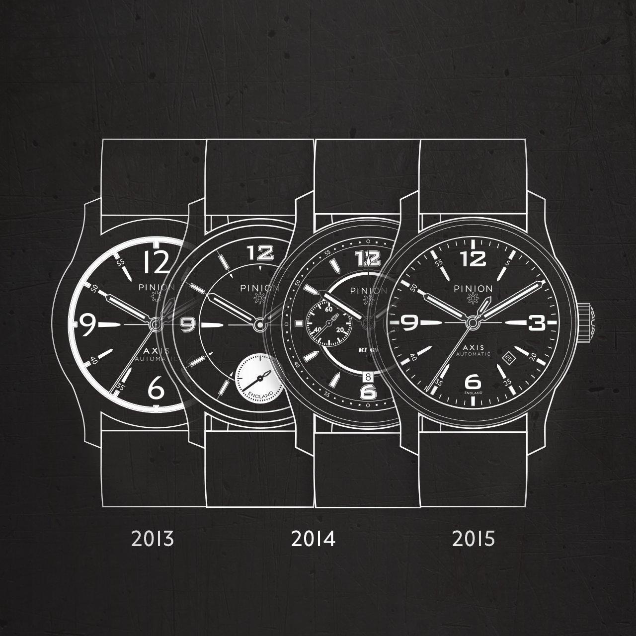 Pinion watch design continuity
