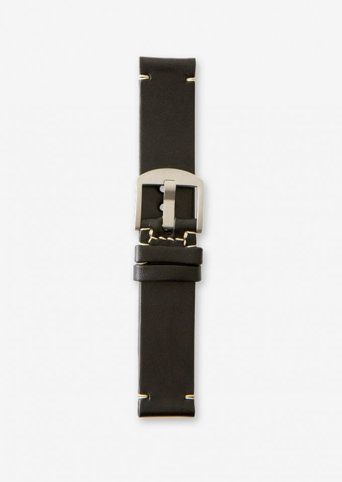 20mm vintage style black watch strap