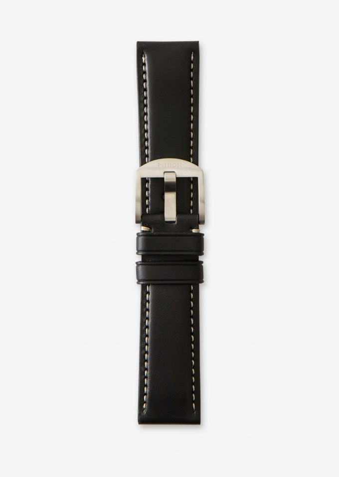 Pinion 22mm black leather strap with contrast stitching