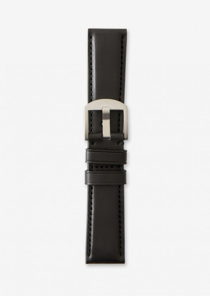Pinion 22mm Black leather strap matching stitch