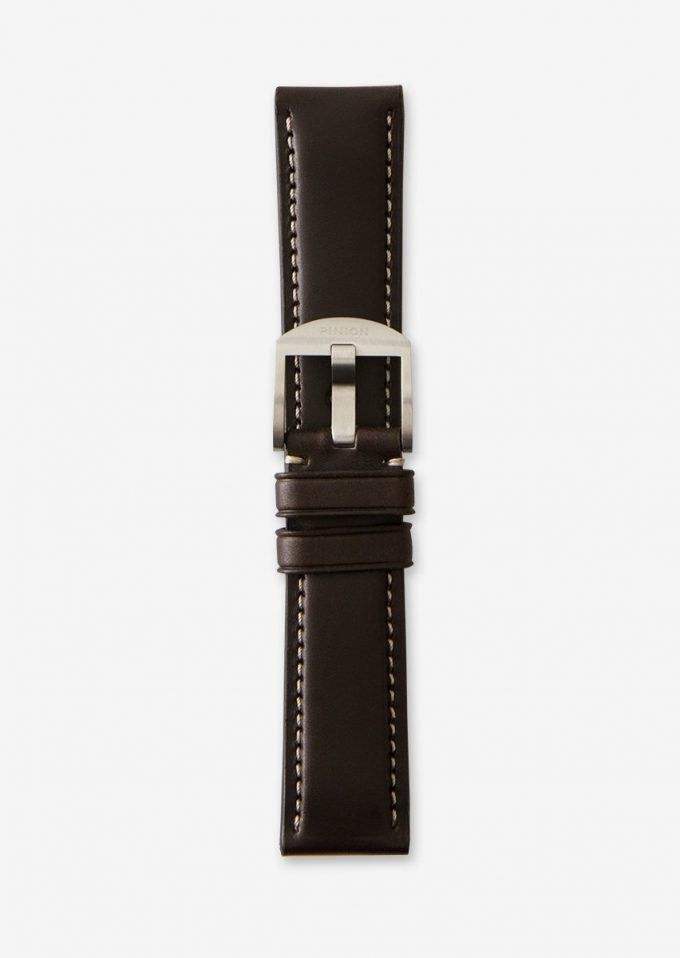 Pinion 22mm dark brown leather watch strap