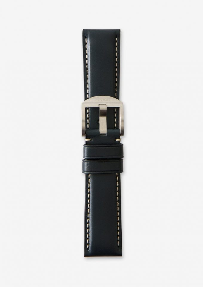 22mm dark blue leather watch strap