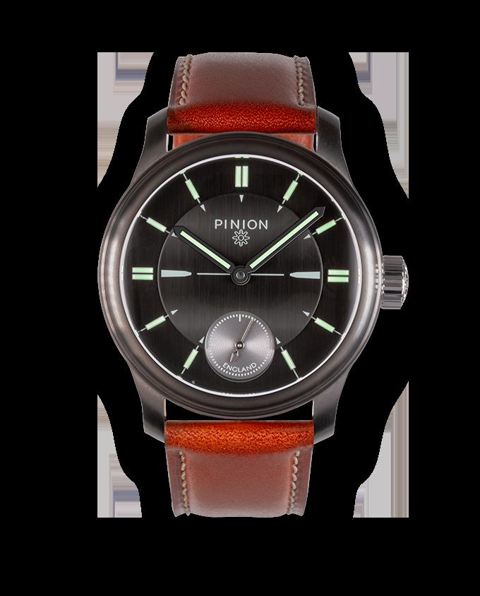 Pinion Pure Handwound Watch Gunmetal Grey DLC Case with tan Strap