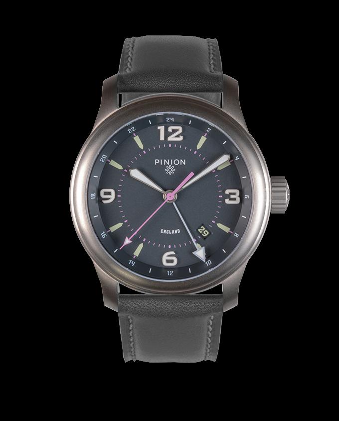 Pinion TT Anthracite Titanium GMT Watch Grey Strap