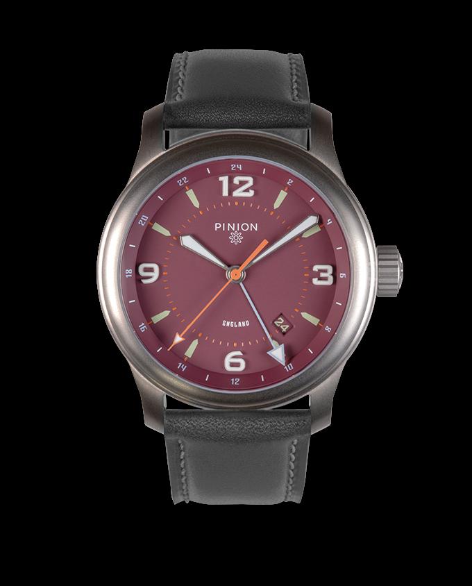 Pinion TT Maroon Titanium GMT Watch Grey Strap