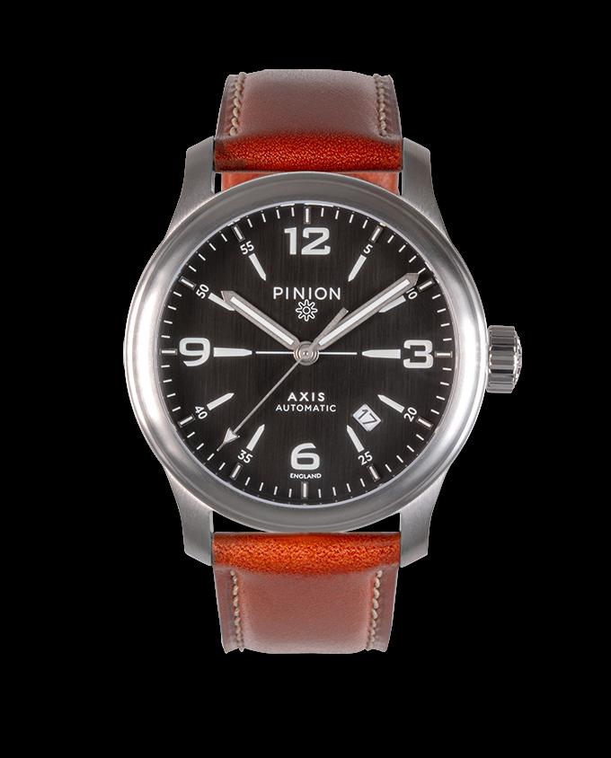 Pinion Axis II Steel Bk watch tan strap