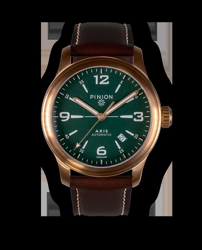 Pinion Axis II Bronze Watch Green Dial