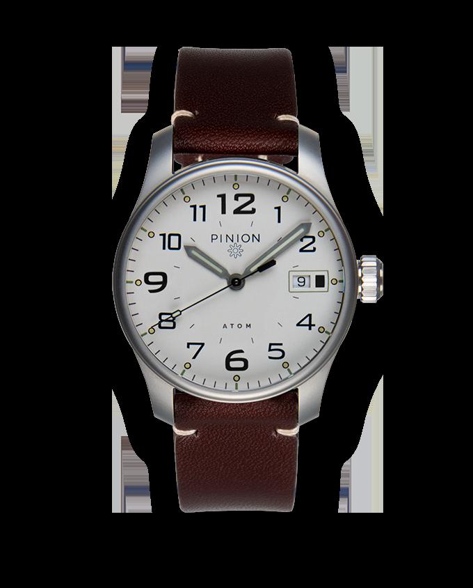 Pinion Atom 39 White Dial Brown Strap watch