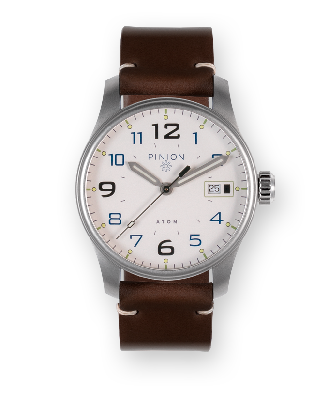 Pinion Atom 39mm automatic watch white dial