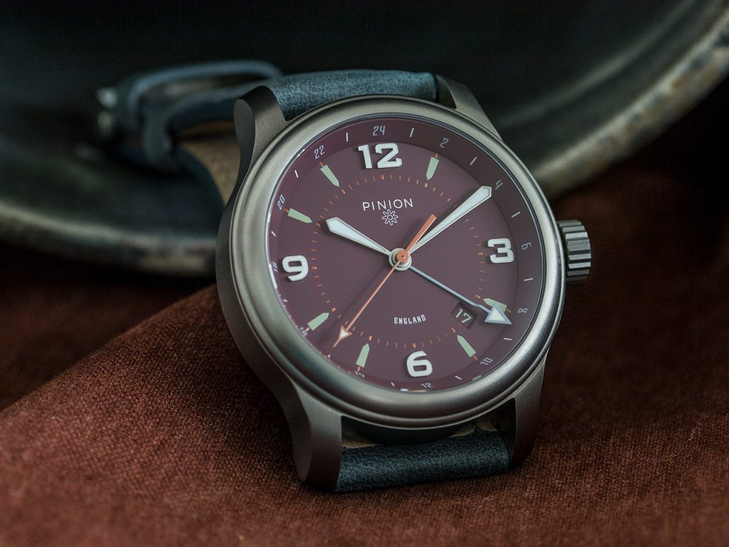 Pinion TT Maroon Titanium GMT Watch