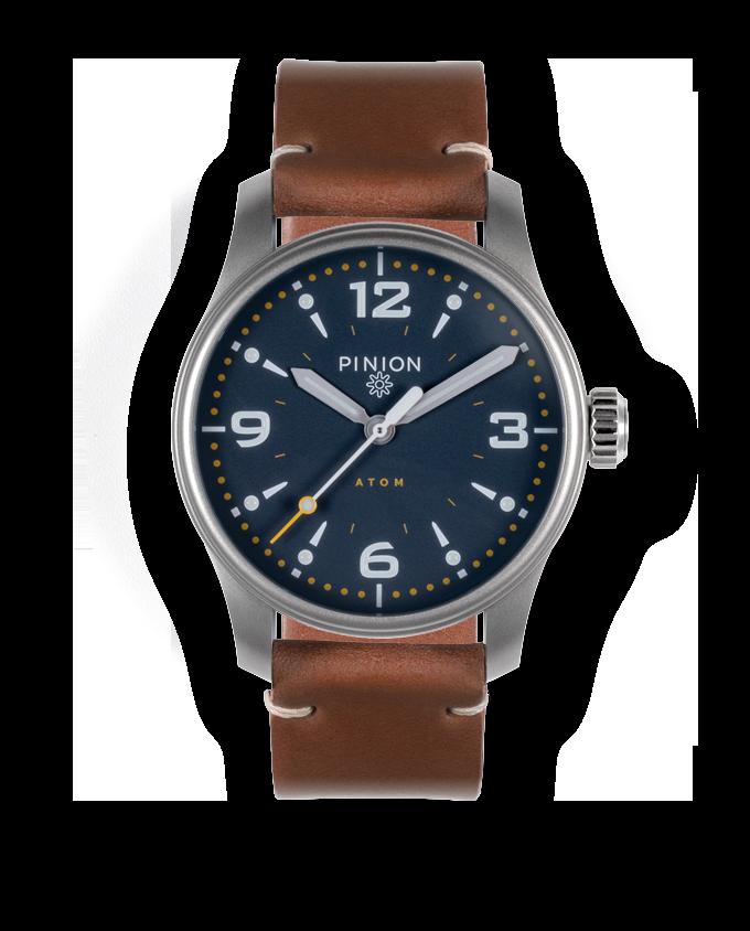 Pinion Atom 39ND Oxford Blue - tan leather strap
