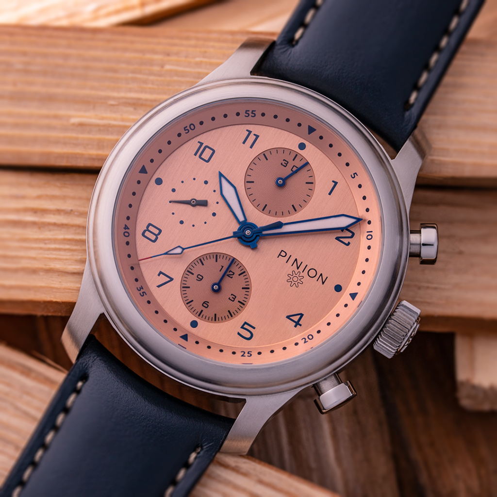 Pinion Elapse Salmon dial chronograph watch