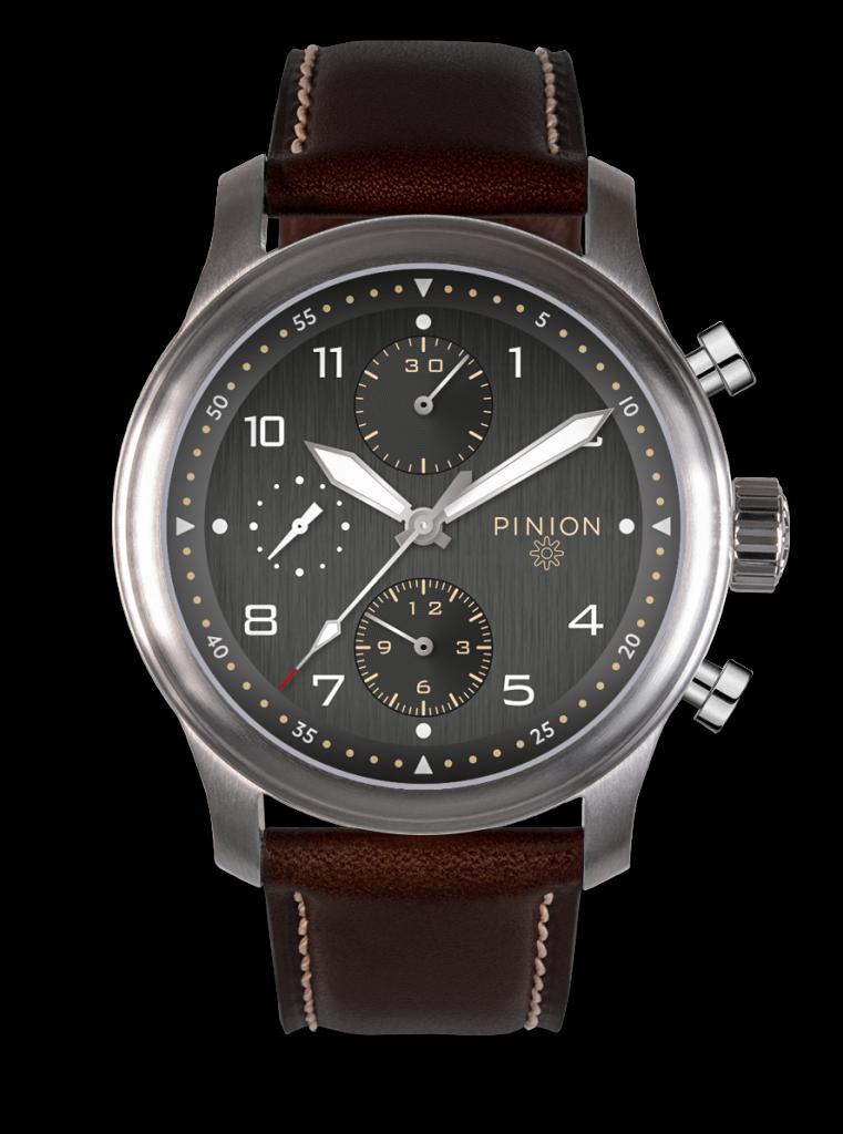 Pinion Elapse Chronograph Watch Valjoux 7750 Anthracite Dial