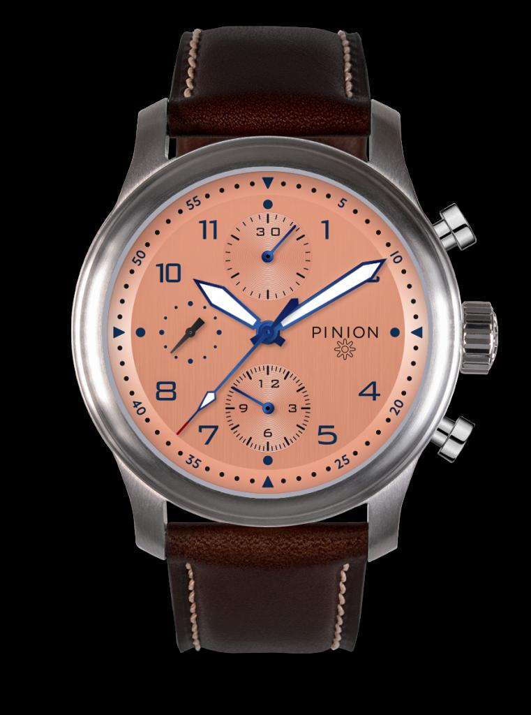 Pinion Elapse Chronograph Watch Valjoux 7750 Salmon Dial