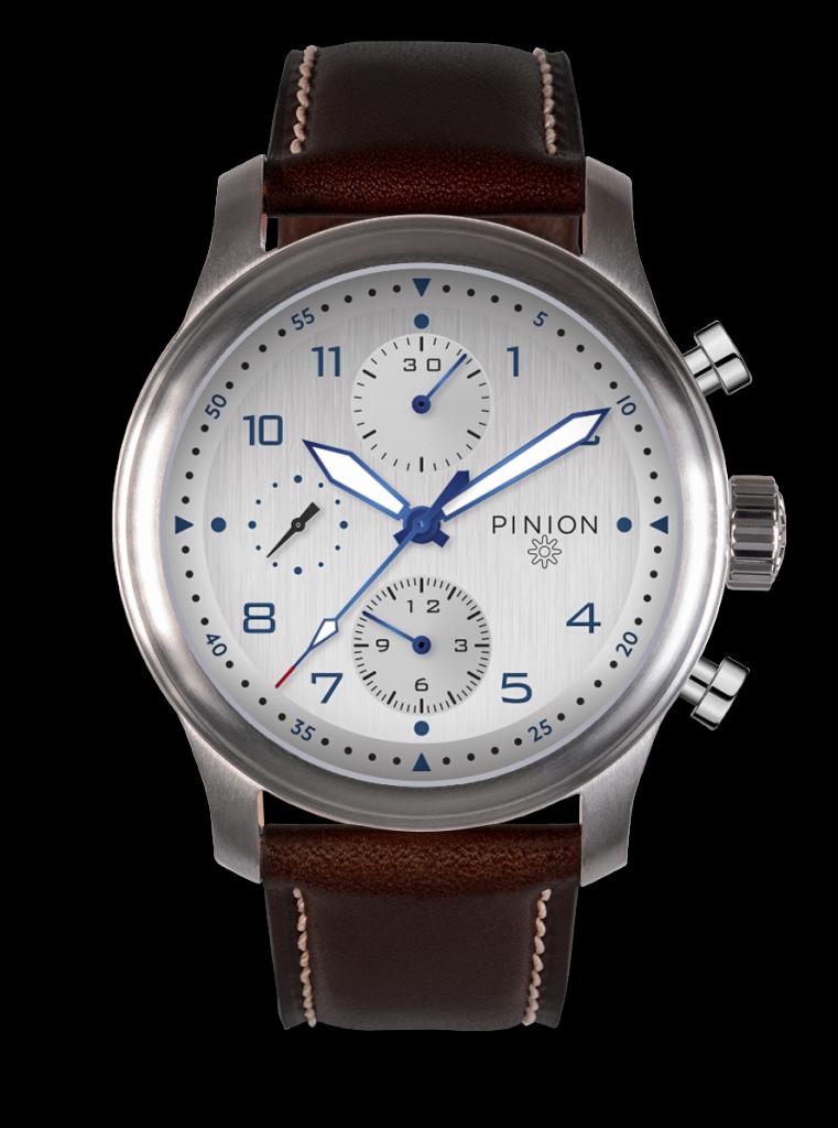 Pinion Elapse Chronograph Watch Valjoux 7750 Silver Dial