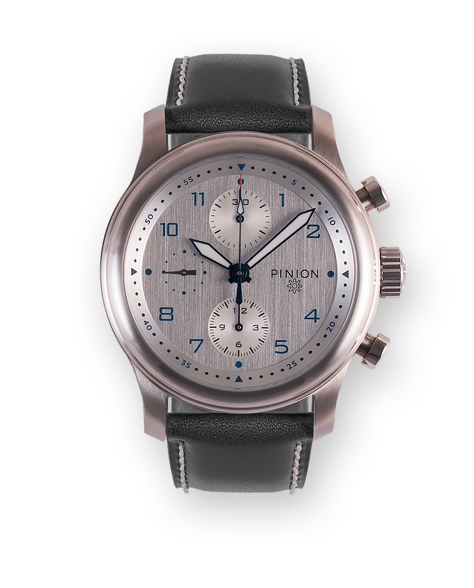 Pinion Elapse Chronograph Silver dial - Grey strap