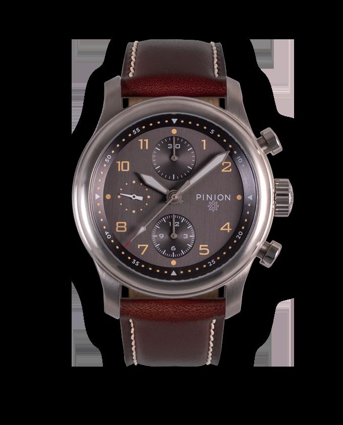 Pinion Elapse Chronograph - Dark Brown strap
