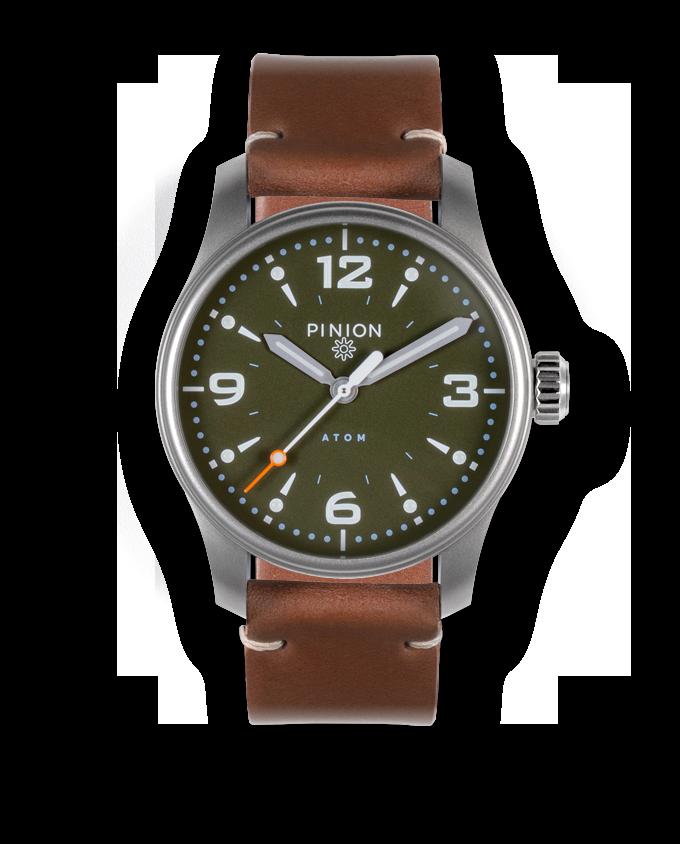 Pinion Atom 39ND Hunter Green - tan leather strap