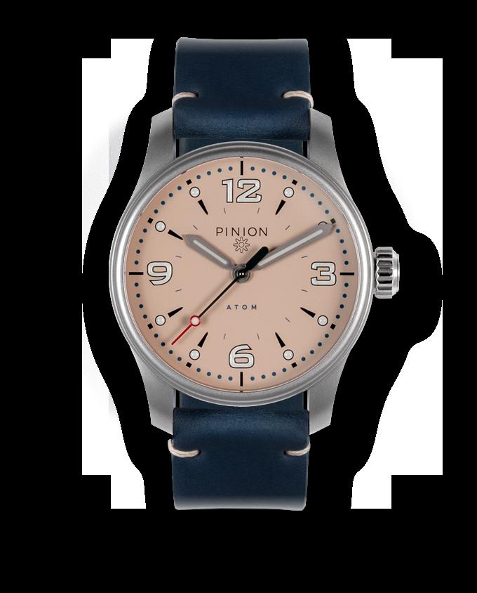 Pinion Atom 39ND Pale Slate - blue leather strap