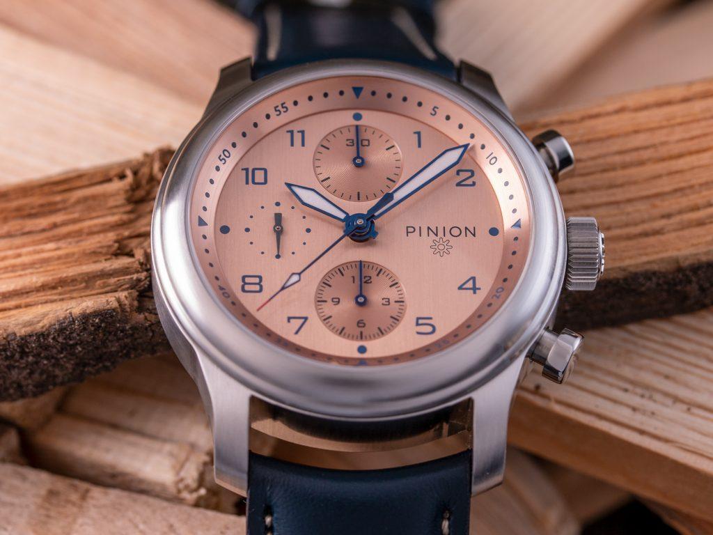 Pinion Elapse salmon dial chronograph