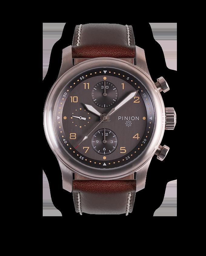 Pinion Elapse Chronograph Anthracite dial - Brown strap